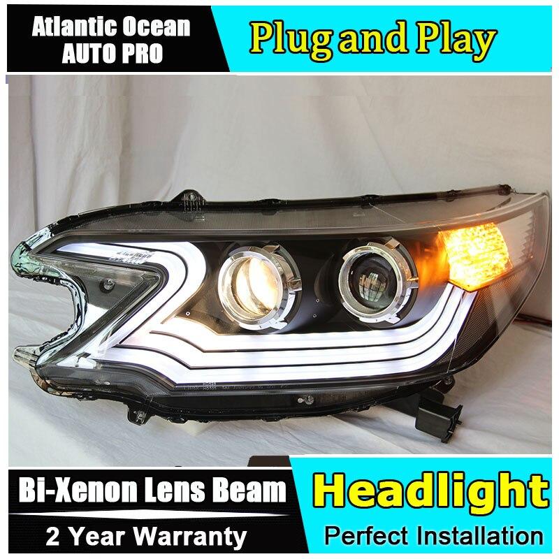 Nouveau phares voiture Style pour Honda CRV LED phares 2012-2014 Lexus Style DRL lentille Double faisceau HID KIT xénon bi xénon lentille