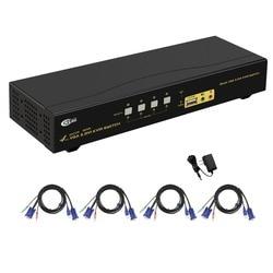 4 Doppia porta Monitor KVM Swith, DVI + VGA Visualizzazione Estesa, supporto 2048x1536, 1080 P, con USB2.0 Hub