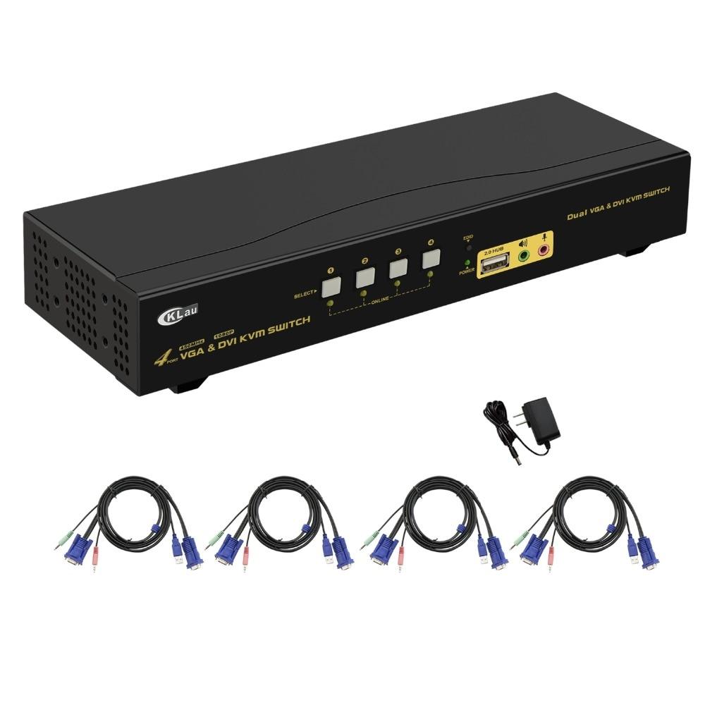 1080 P Vornehm 4 Port Dual Monitor Kvm Swith Mit Usb2.0 Hub Reine WeißE Unterstützung 2048x1536 Dvi Vga Erweiterte Anzeige
