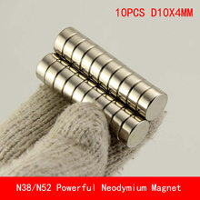 10pcs 10*4 Super Powerful Strong Bulk Small Round NdFeB Neodymium Disc Magnets Dia 10 mm x 4 n38 n52 Rare Earth Magnet 10x4