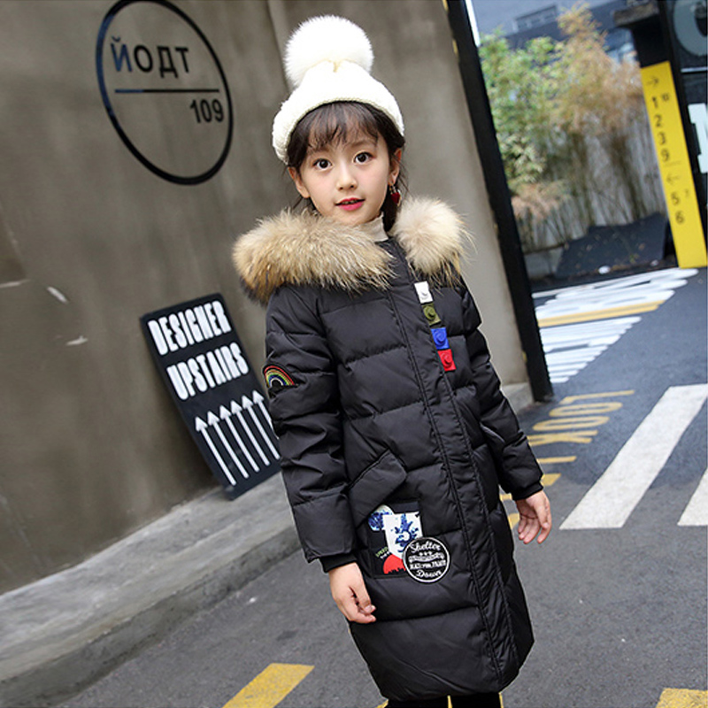 Girls Down Jackets 2017 Brand Winter Thicken Natural Fur Collar Hooded Children Down Coats Outerwear Overcoat Parkas 5-14 casual 2016 winter jacket for boys warm jackets coats outerwears thick hooded down cotton jackets for children boy winter parkas