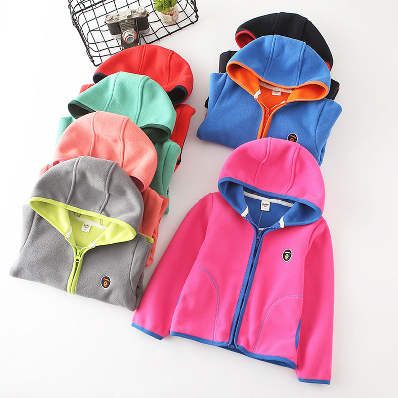 2018 spring autumn fleece children's jackets for girls child hoodies kids cardigan toddler coats for boys baby sweatshirts 2-6T