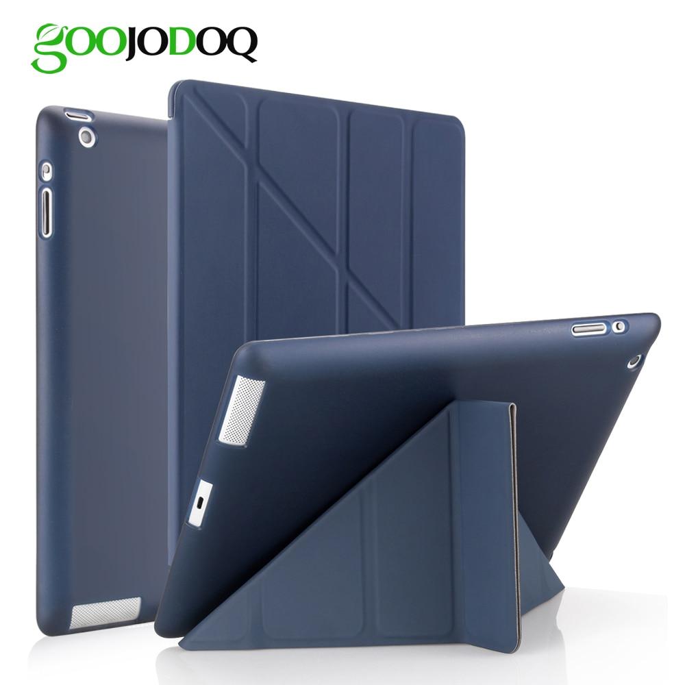 For iPad 2 3 4 Case for iPad Mini 4 3 2 1 Case with Silicone Soft Back Multi-fold PU Leather Smart Cover for iPad Mini 4 Case