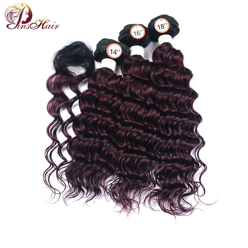 peruvian ombre hair 3 bundles with closure deep wave bundles 1B red Burgundy human hair  ...