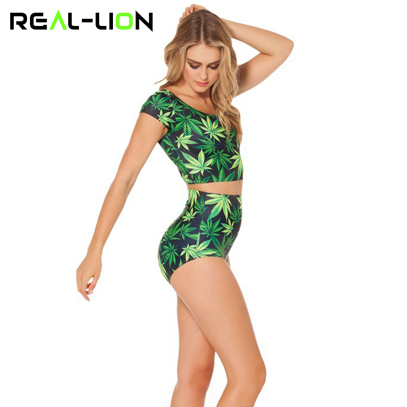RealLion Tinggi Elastis Yoga Setelan Wanita Kemeja Celana Pendek - Pakaian olahraga dan aksesori