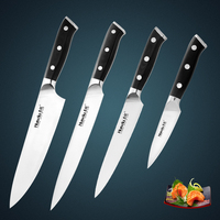 High Quality 4pcs Japan AUS 8 Stainless Steel Kitchen Knife Set With Black Mikartar Handle