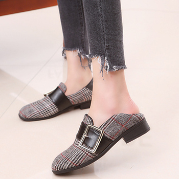 Gingham Buckle Strap Loafers Ladies Slip On Shallow Low Heels