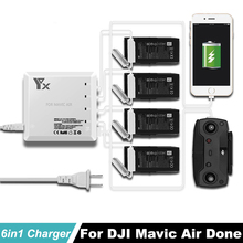 DJI Mavic Air Intelligent Battery and remote Controller Charger USB Port Hub 4 Batteries 6in1 Charging For DJI Mavic Air drone dji spark intelligent battery fast charger remote controller for dji spark battery 6 output charger with 2 usb ports 4 adapters