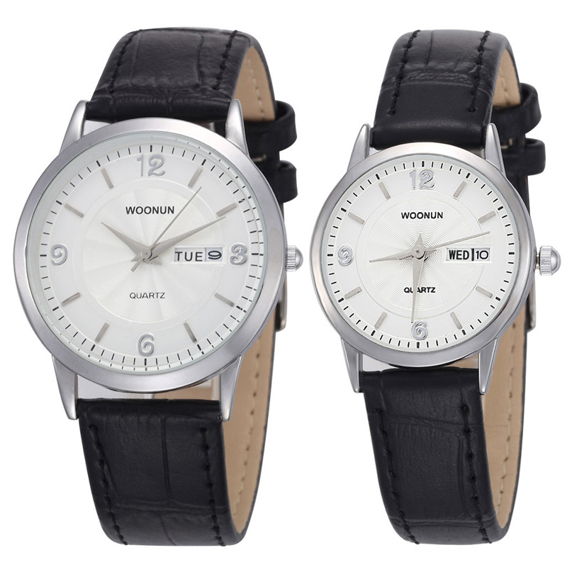 WOONUN Luxury Famous Brand Couple Watches For Lovers Ultra Thin Watches For Men Women Leather Strap Quartz Watch Valentine Gift