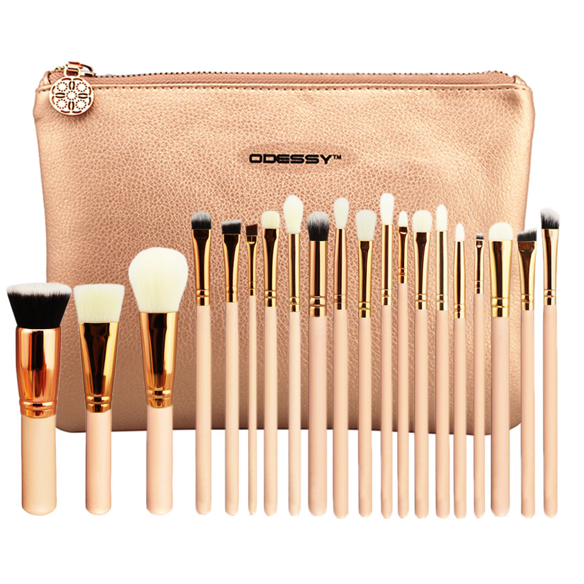 Hot Pro 20 pcs Makeup Brushes Set Pink Rose Golden Powder Foundation Eyes shadow Eyebrow Brush Cosmetics Make Up Tools Kit hot pink apple shaped makeup brush cleaner
