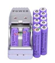 12x AAA 3A фиолетовый цвет 1,2 в Ni-MH 1800 мАч аккумуляторная батарея + USB зарядное устройство