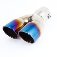 For BNW Audi Mazda Hole Diameter 62mm/ 2.44 inches Car Titanium Blue Stainless Steel Inlet Dual Outlet Exhaust Muffler Tip Pipes