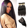 Brazilian Virgin Hair With Closure 4 Bundle Rosa Hair Products Brazillian Hair With Closure Brazilian Straight Hair With Closure