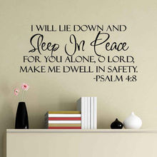 Wall Stickers Sleep In Peace Bible Verse decal Quote Vinyl Sticker Inspiration  Home Decoration