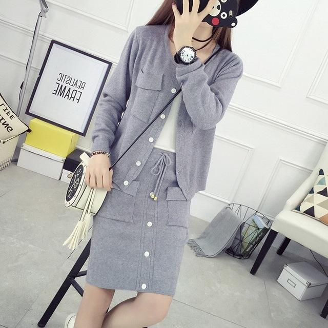 Sweater Terno Feminino 2016 Outono Nova Coreano Mulheres Longa Da Luva 2 Peça Define Cardigan Camisola Saia Ternos Das Mulheres Saia De Malha conjuntos