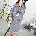 Traje suéter Femenino 2016 Otoño Nuevo Coreano de Manga Larga de Las Mujeres 2 Unidades Establece Cardigan Suéter de Las Mujeres Trajes De Falda de Punto Falda conjuntos
