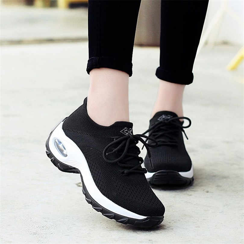 LIN KING Top Quality Women Vulcanized Shoes Big Size Lace Up Woman Wedges Sneakers Breathable Low Top Girls Outdoor Casual Shoes