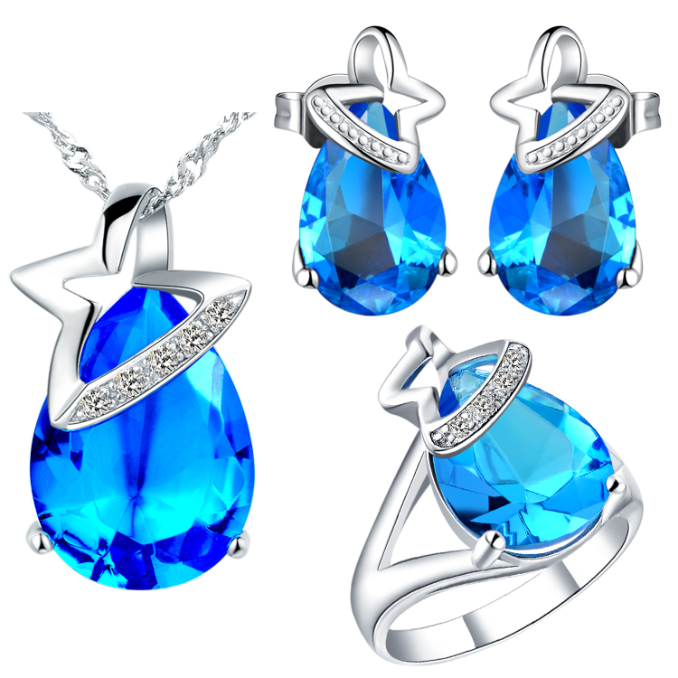 Jewelry & Accessories New Nice Plating Jewelry Set For Women,purple/red/blue Drop Shape Design,necklace/earring/rings,classic Retro Style