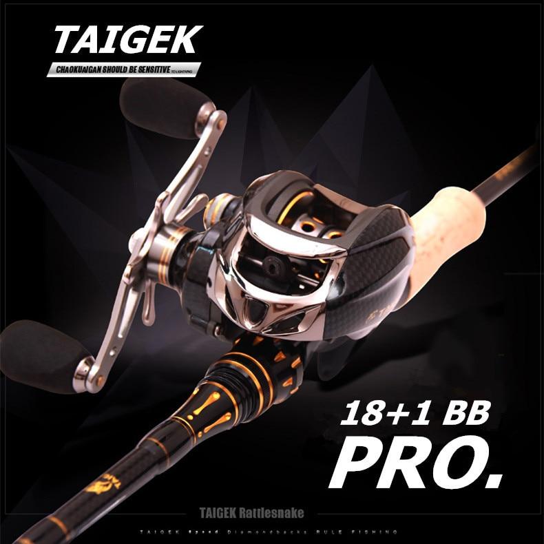 Taigek 19 подшипникового металла большая катушка бренд морской baitcasting катушка рыболовная катушка 6.3: 1 левый правый наживка литья катушка для спиннинга мультипликаторные
