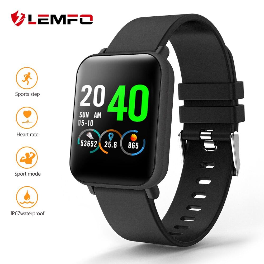 LEMFO completa pantalla táctil reloj inteligente impermeable reloj deportivo de la vigilancia de la presión arterial 20 días Smartwatch