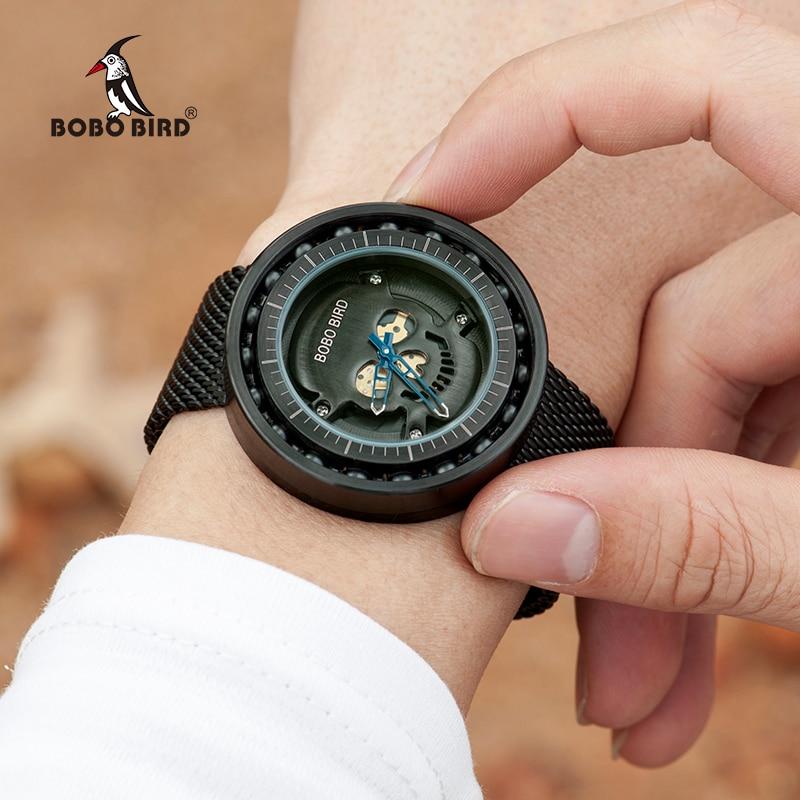 BOBO BIRD Steel Watch Timepieces Skull Dial 360 Degree Rotación - Relojes para hombres - foto 3