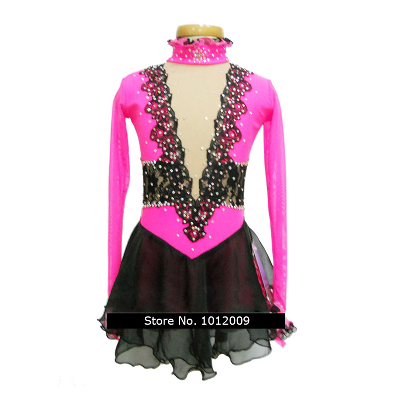 Customized Costume Ice Skating Figure Skating Dress Gymnastics Competition Pink Adult Child Girl Skirt Performance Rhinestone customized costume ice figure skating gymnastics dress competition adult child girl pink skirt performance fold off shoulder
