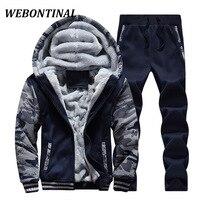 WEBONTINAL 2017 Brand Casual Winter Tracksuit Hooded Hoodie Men Sweatshirt Male Coat Zipper Thicken Velvet Polyester