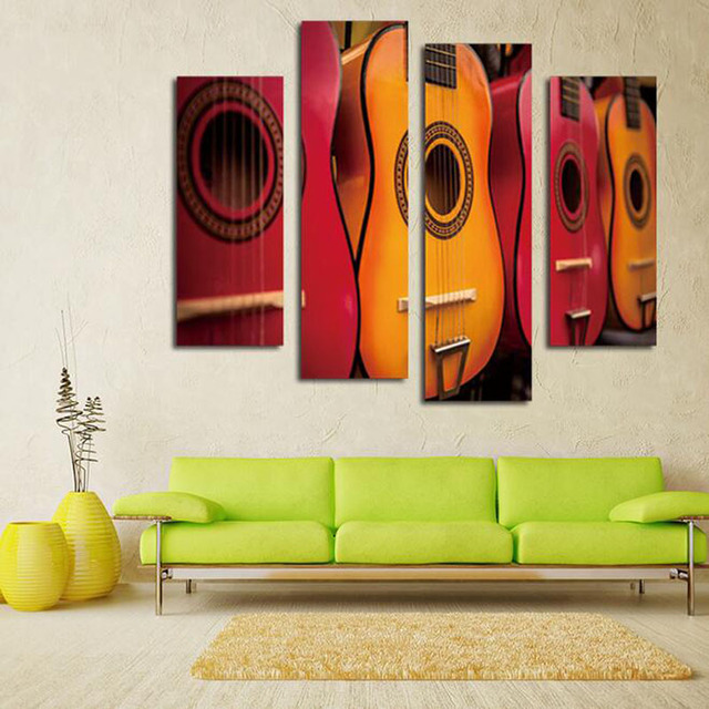 4 Pieces Pictures Print On Canvas Abstract Guitar Wall Pictures For Living  Room Wall Art Music