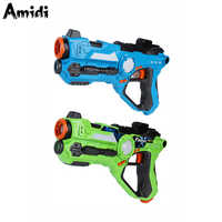AOMEIQI 2 unids/set cs juego de pistolas de juguete verde y azul pistola de juguete de batalla eléctrica sensor infrarrojo pistola de plástico láser