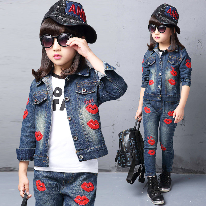 Spring fall Style Girls Red lips children clothing set Denim jacket Jean pant 2 piece set