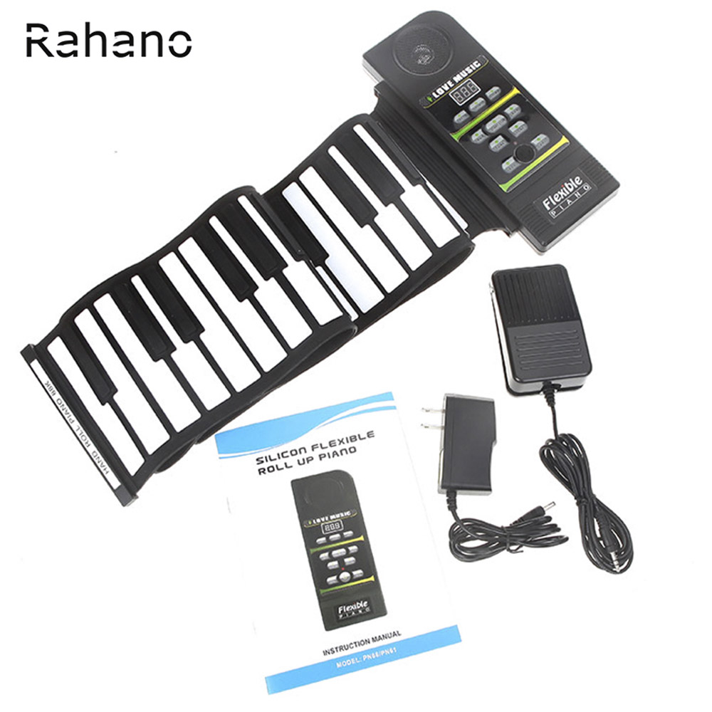 Rahano 88 Key Electronic Piano Keyboard Silicon Flexible Roll Up Piano with Loud Speaker Wish US Plug flexible silicon keyboard