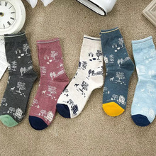 5pairs/lot Autumn and winter socks wholesale cotton garden retro lady tube hot recommended promotions