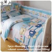 2017! 6/7PCS Blue Bear Baby Crib Cot Bedding Set Quilt Bumper Sheet ,120*60/120*70cm