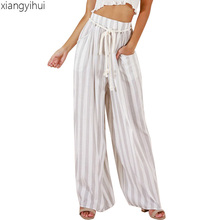 Autumn Winter Women Loose White and Blue Striped Pants High Waist Lace Up Wide Leg Pants Long Trousers Casual 2018 Pantalones