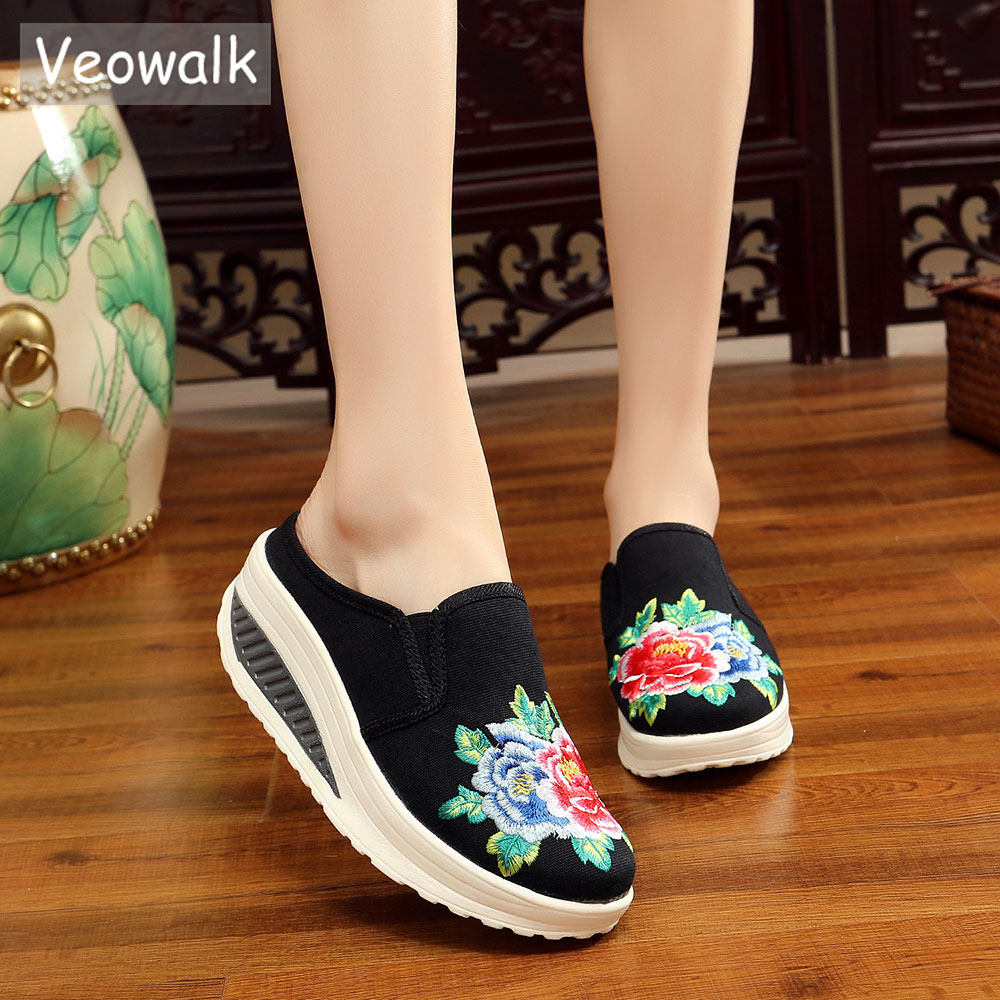 Veowalk New Summer Style Women Canvas Embroidered Slip-on Flat Platform  Slippers Thick Bottoms Ladies bfc468e08cb4