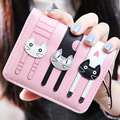 2016 HOT New Coming Fashion Lady Women Short Check Purse Cat lovely wallet PU Leather wallet Card holder Famous brand Wallet