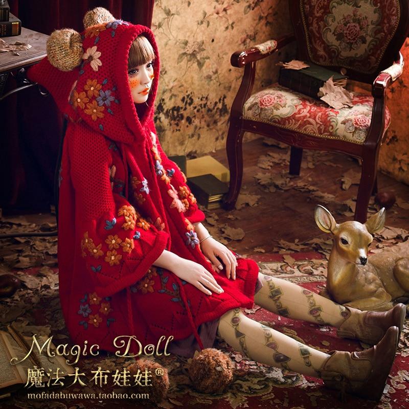 Grand Chandail Rouge Mignon femmes Magique Taille Ours Broderie Pull Automne Long Personnalisé Poupée Oreille Tricoté Exclusif Manteau Doux Lâche wqtOU1T