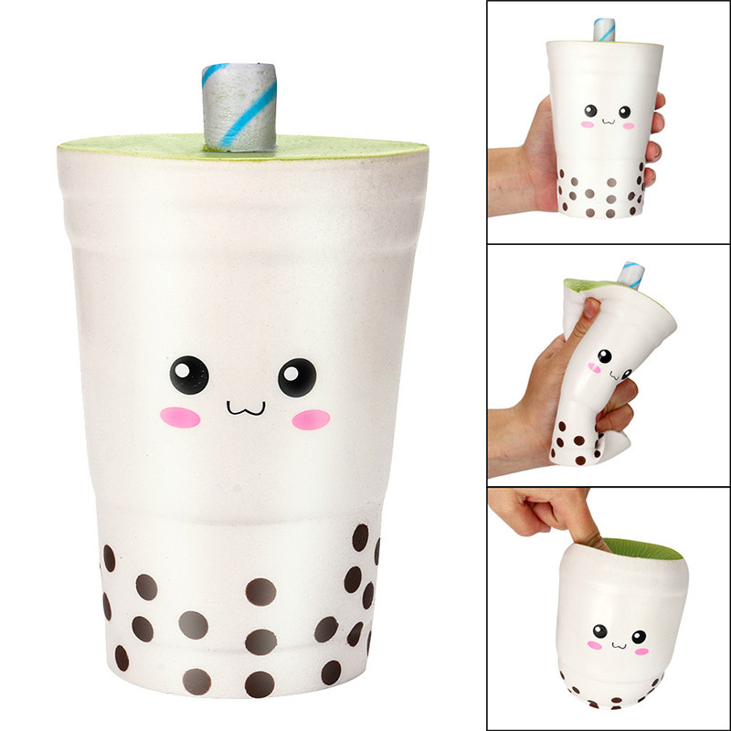 Original Cute Face Bubble Tea Squishy Super Slow Rising Jumbo Cartoon Cup Phone Straps Soft Scented Bread Cake Kids Fun Toy Gift