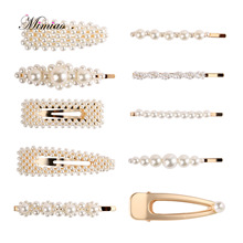 1PC Hair Clips For Clip Accessories Girls Women Decoration White Pearl Jewelry Flower Barrettes