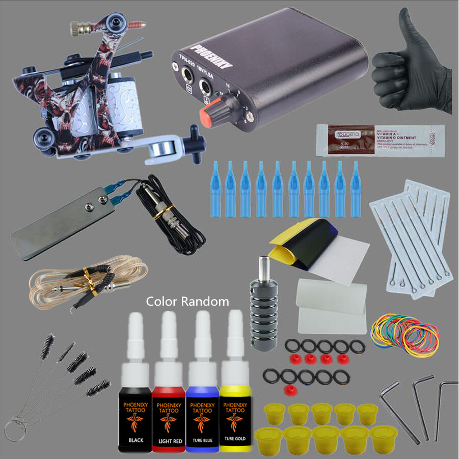 Temporary Complete Tattoo Kit Beginner Tattoo Kit Machine Guns Inks Needles Tattoo Power Supply 4 colors