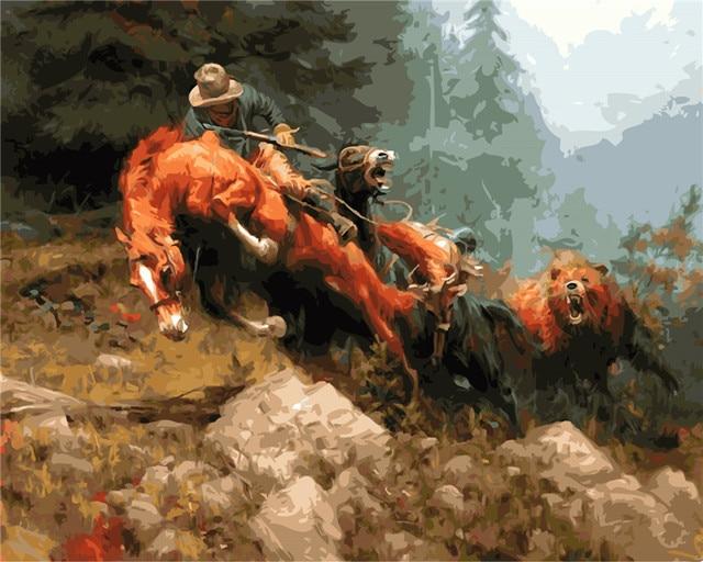 Lucha caballo abstracto animales pintura al óleo cuadro por números ...