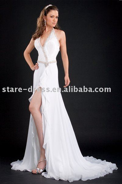Free Shipping Elegant Long Gown White Liquid Beaded Halter Flowing Georgette Skirt With Train