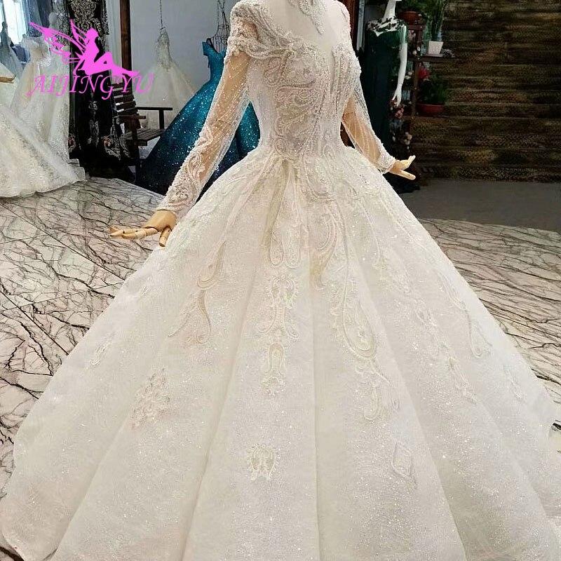 9b866f2e6e0 AIJINGYU дешевые свадебные платья онлайн платье с жемчугом реальное  изображение простой девушка романтическая Иллюзия цветочный пышные