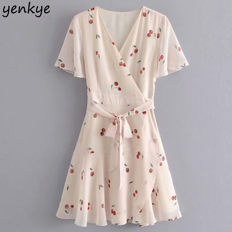 Summer Dress 2019 Women Cherry Print Ruffle Wrap Dress Elegant Lady Cross V Neck Short Sleeve Sashes A-line Chiffon Dress