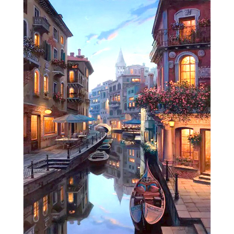 Frameless Venice Night Landskap DIY Målning Med Numbers Kit Coloring Painting By Numbers Hem Wall Art Decor För Unik Gåva