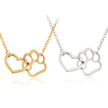 Hollow Pet Paw Footprint Necklaces Shellhard Cute Animal Dog Cat Love Heart Pendant Necklace For Women Girls Jewelry Necklace(China)