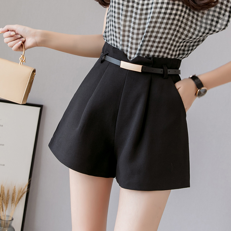 Korean Brief Design Black Suit Shorts For Women 2019 Fashion Solid High Waist Wide Leg Shorts With Belt Summer Casual Shorts