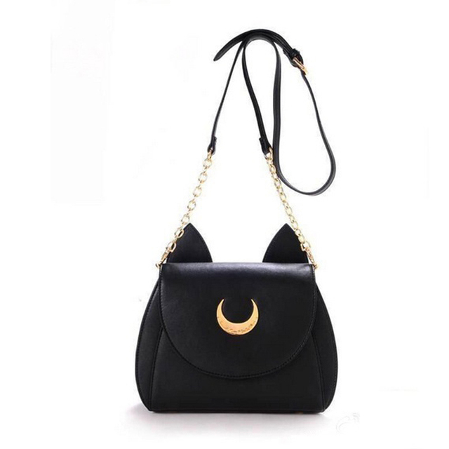 High Quality Samantha Vega Sailor Moon Bag Ladies Handbag Black White Luna Moon Leather Women Shoulder Messenger Crossbody Bag
