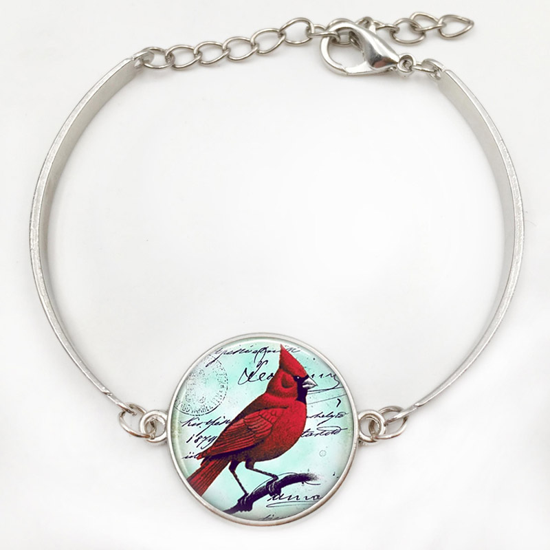 watch two silver youtube sided pendant cardinal bird antique necklace tone