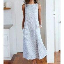Summer Sleeveless Striped Dress Women Casual Pockets Cotton Line Elegant Dress Plus Size summer sleeveless loose plaid dress women casual pockets long elegant dress plus size